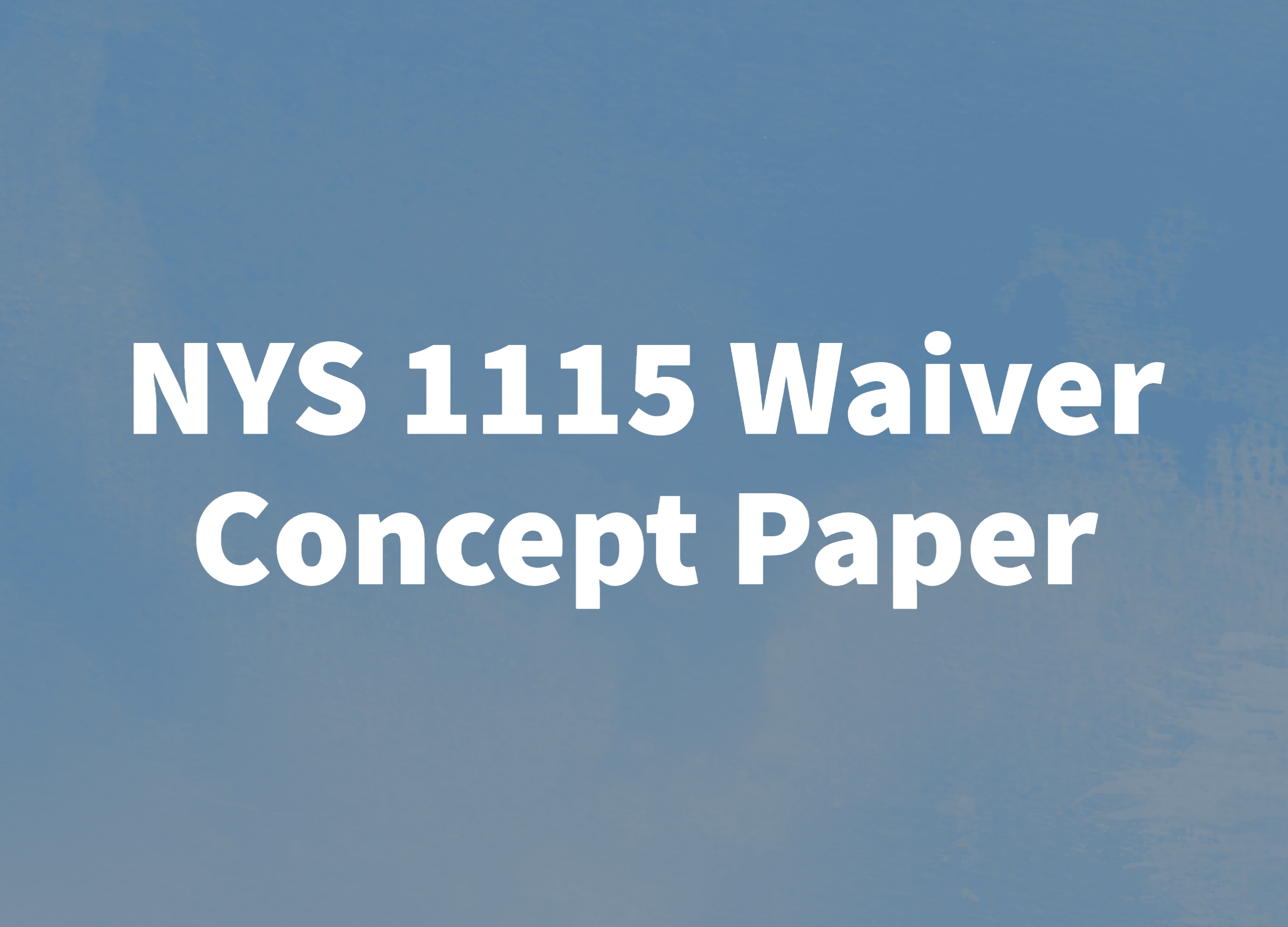 NYS 1115 Waiver Concept Paper: The Highlights